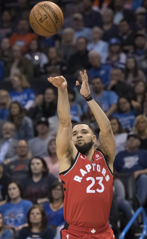 Toronto Raptors guard Fred VanVleet shoots against the Oklahoma City Thunder during the first half of an NBA basketball game Wednesday, March 20, 2019, in Oklahoma City. (AP Photo/Rob Ferguson)