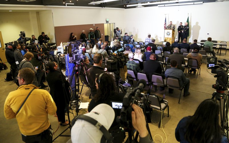 Kittitas County Sheriff Gene Dana speaks at a news conference, Wednesday, March 20, 2019, in Ellensburg, Wash. (Jake Green/The Daily Record via AP)