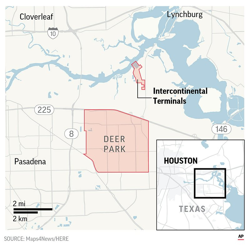 Harris County officials said the Guard and hazardous materials teams have established perimeters around the Intercontinental Terminals Company in Deer Park.;