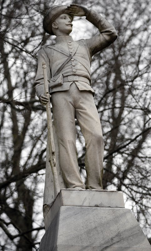 This Feb. 23, 2019 photog shows the Confederate soldier monument at the University of Mississippi in Oxford, Miss. (AP Photo/Rogelio V. Solis)