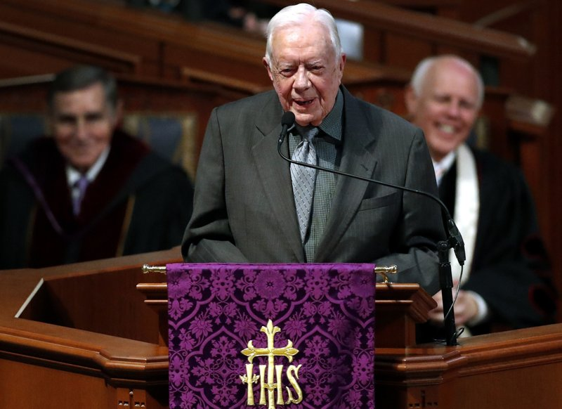 FILE- In this March 27, 2018 file photo, former President Jimmy Carter speaks during a funeral service for former and former Georgia Gov. (AP Photo/John Bazemore, File)