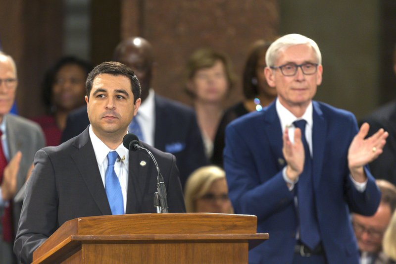 FILE - In this Jan. 7, 2019 file photo, Wisconsin Attorney General Josh Kaul speaks during his address at the inauguration of Gov. (AP Photo/Andy Manis, File)