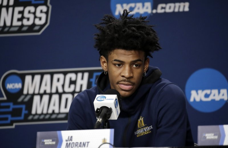 Murray State's Ja Morant listens to a question during a news conference at the men's college basketball NCAA Tournament, Friday, March 22, 2019, in Hartford, Conn. (AP Photo/Elise Amendola)