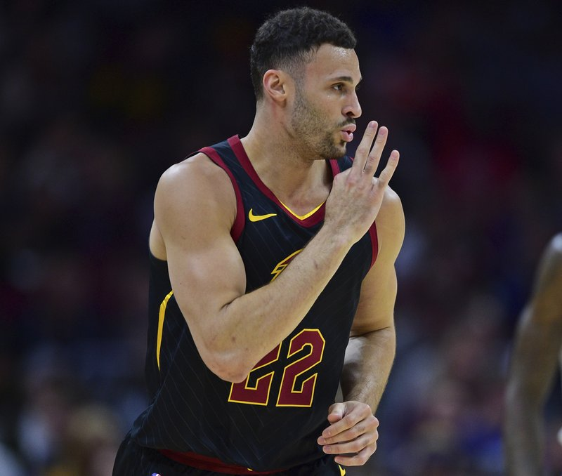 Cleveland Cavaliers' Larry Nance Jr. celebrates after making a three-point basket in the first half of an NBA basketball game against the Los Angeles Clippers, Friday, March 22, 2019, in Cleveland. (AP Photo/David Dermer)