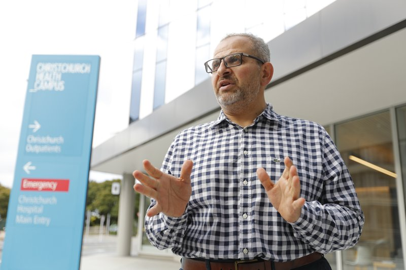 In this Thursday, March 21, 2019, photo, Dr. Adib Khanfer, surgeon of hospital Christchurch speaks during an interview with Associated Press in Christchurch, New Zealand. (AP Photo/Vincent Thian)