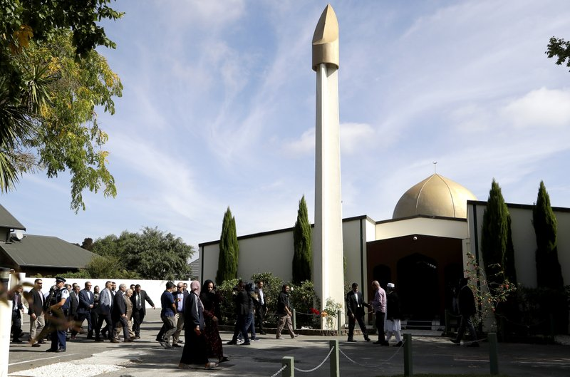 His Royal Highness Prince El Hassan bin Talal Hashemite of the Kingdom of Jordan and his entourage are escorted to the Al Noor mosque in Christchurch, New Zealand, Saturday, March 23, 2019. (AP Photo/Mark Baker)
