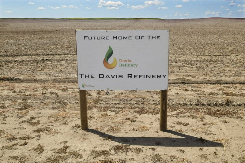 FILE--This July 19, 2018, file photo, shows the property in southwest Belfield, N.D that is the future home The Davis Refinery near Theodore Roosevelt National Park. (Tom Stromme/The Bismarck Tribune via AP)