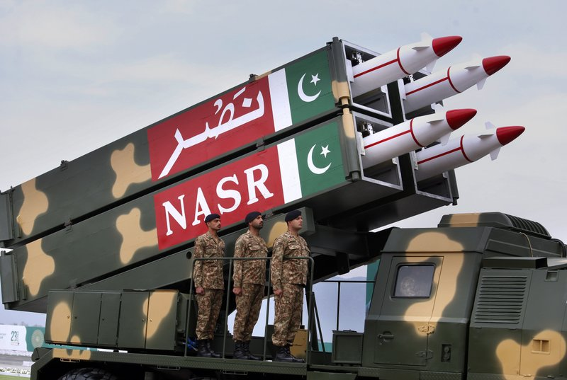 A Pakistani-made ballistic missile NASR is loaded on a trailer rolls down during a military parade to mark Pakistan National Day, in Islamabad, Pakistan, Saturday, March 23, 2019. (AP Photo/Anjum Naveed)