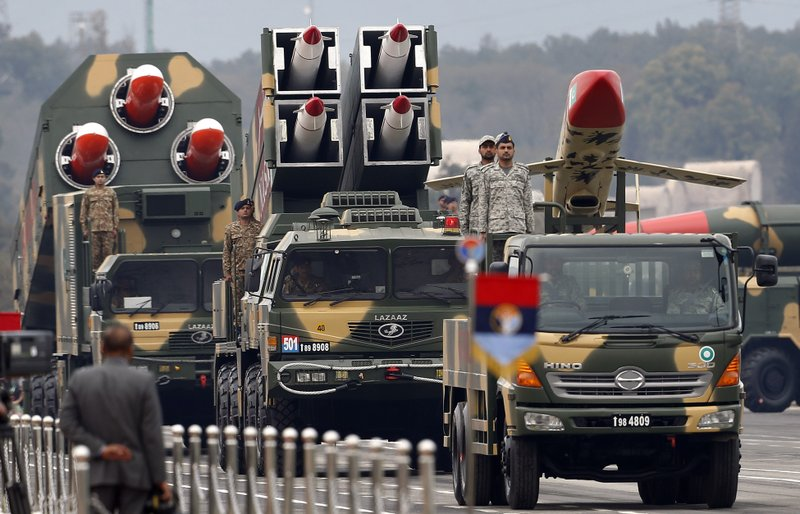 Pakistani-made missiles are loaded on a trailers roll down during a military parade to mark Pakistan National Day, in Islamabad, Pakistan, Saturday, March 23, 2019. (AP Photo/Anjum Naveed)