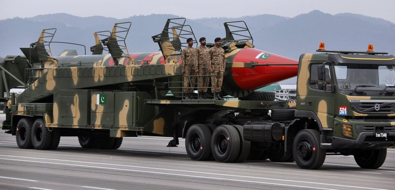 A Pakistani-made Ghauri missile, that is capable of carrying nuclear warheads, is loaded on a trailer rolls down during a military parade to mark Pakistan National Day, in Islamabad, Pakistan, Saturday, March 23, 2019. (AP Photo/Anjum Naveed)