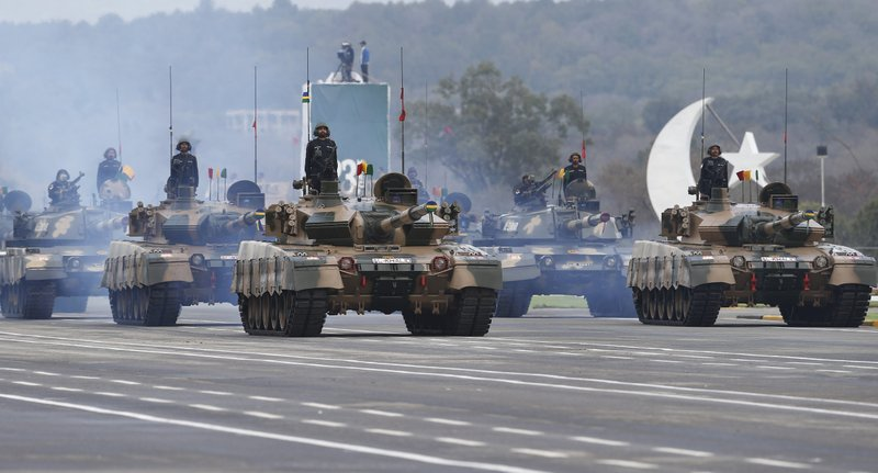 Pakistani-made tanks roll down during a military parade to mark Pakistan National Day, in Islamabad, Pakistan, Saturday, March 23, 2019. (AP Photo/Anjum Naveed)