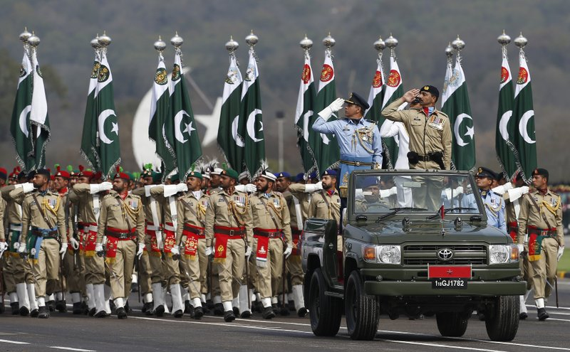 Pakistani troops march during a military parade to mark Pakistan National Day, in Islamabad, Pakistan, Saturday, March 23, 2019. (AP Photo/Anjum Naveed)
