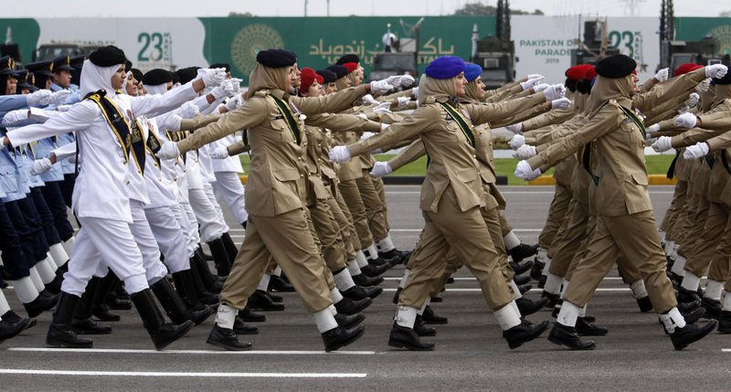 Female soldiers of Pakistan Army march during a military parade to mark Pakistan National Day, in Islamabad, Pakistan, Saturday, March 23, 2019. (AP Photo/Anjum Naveed)