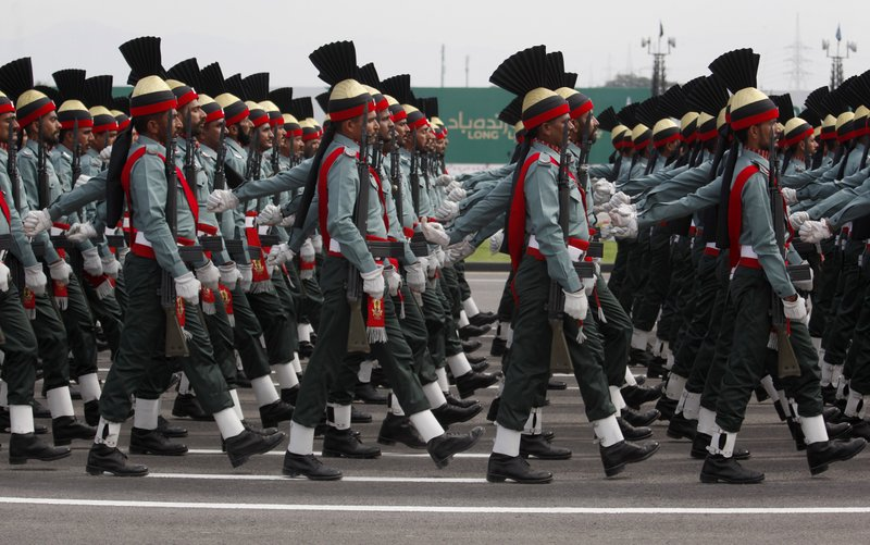 Pakistani paramilitary troops march during a military parade to mark Pakistan National Day, in Islamabad, Pakistan, Saturday, March 23, 2019. (AP Photo/Anjum Naveed)