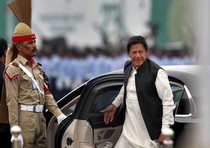 Pakistani Prime Minister Imran Khan arrives to attend a military parade to mark Pakistan National Day, in Islamabad, Pakistan, Saturday, March 23, 2019. (AP Photo/Anjum Naveed)
