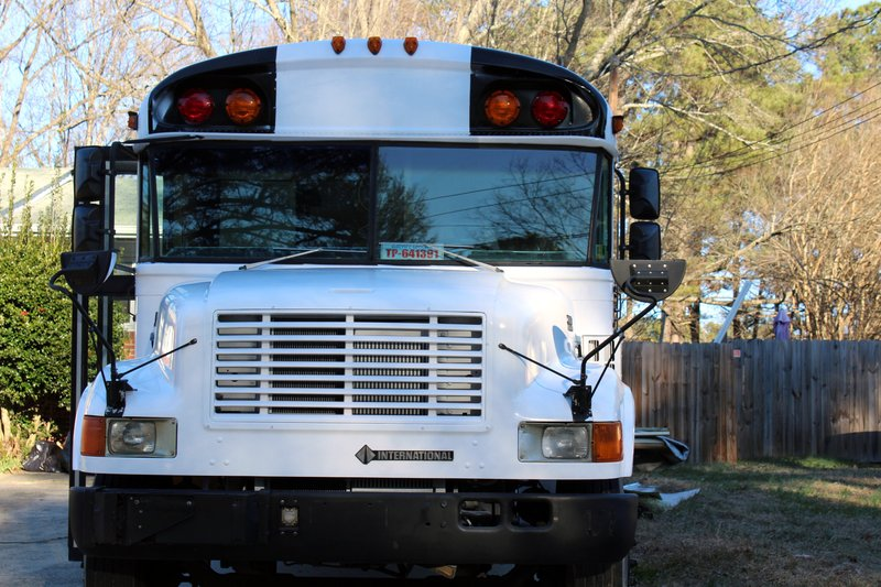 In this photo taken Jan. 21, 2019, a renovated school bus is viewed in Durham, N.C. The bus was purchased by Jack Labosky, a minor league pitcher in the Tampa Bay Rays organization, and his girlfriend Madi Hiatt. (Madi Hiatt via AP)