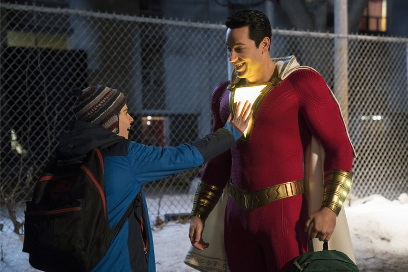 This image released by Warner Bros. shows Zachary Levi, right, and Jack Dylan Grazer in a scene from