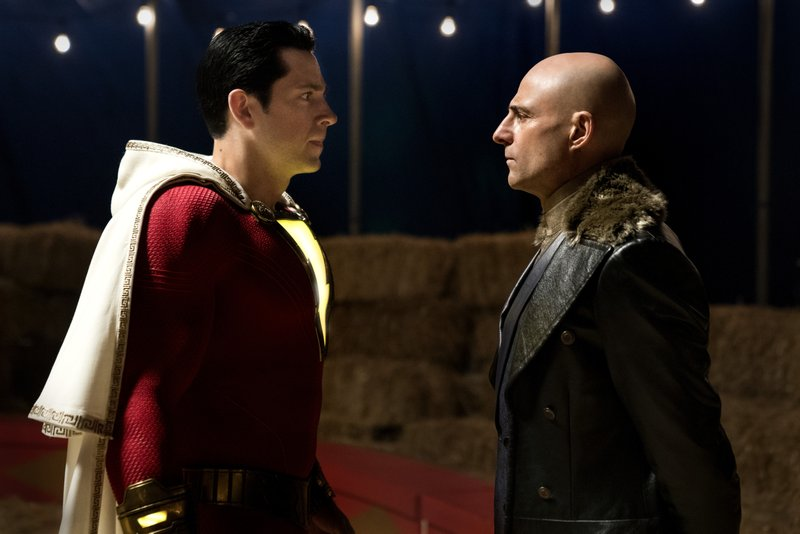 This image released by Warner Bros. shows Zachary Levi, left, and Mark Strong in a scene from