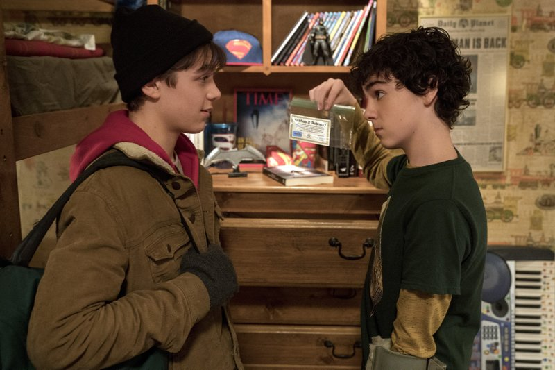 This image released by Warner Bros. shows Jack Dylan Grazer, left, and Asher Angel in a scene from