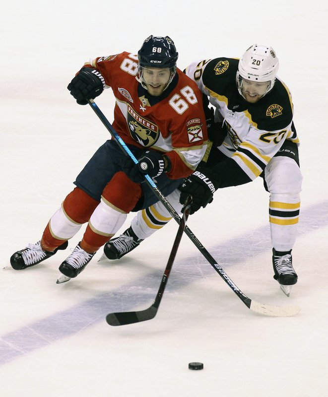 Florida Panthers' Mike Hoffman (68) and Boston Bruins' Joakim Nordstrom (20) battle for the puck during the third period of an NHL hockey game, Saturday, March 23, 2019, in Sunrise, Fla. (AP Photo/Luis M. Alvarez)