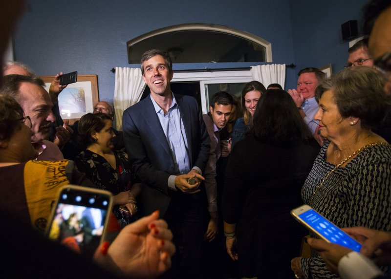 Democratic presidential candidate and former Texas congressman Beto O'Rourke is introduced at a campaign stop at a home in Las Vegas on Saturday, March 23, 2019. (Chase Stevens/Las Vegas Review-Journal via AP)