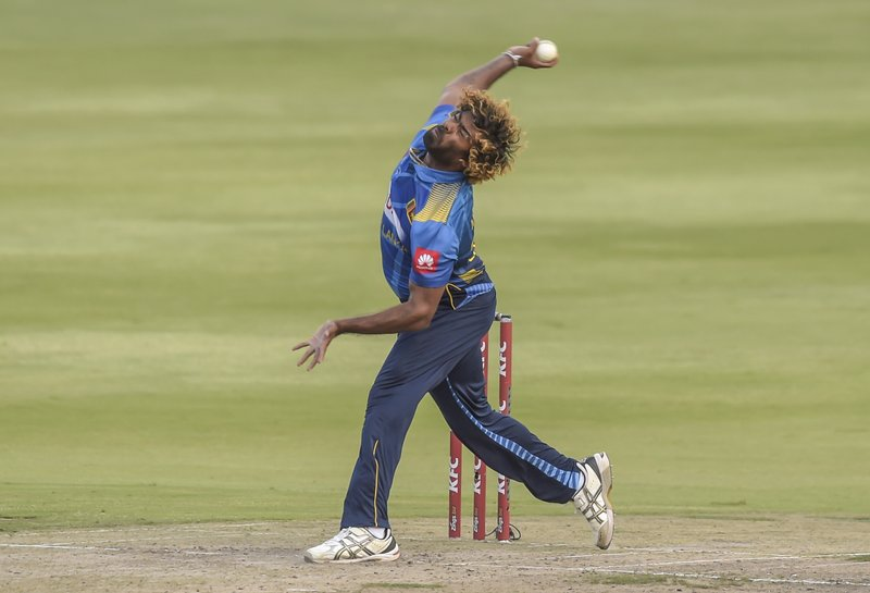 Sri Lanka's Lasith Malinga(Captain) bowling during the T20I match between South Africa and Sri Lanka at Wanderers Stadium in Johannesburg, South Africa, Sunday, March 24, 2019. (AP Photo/Christiaan Kotze)