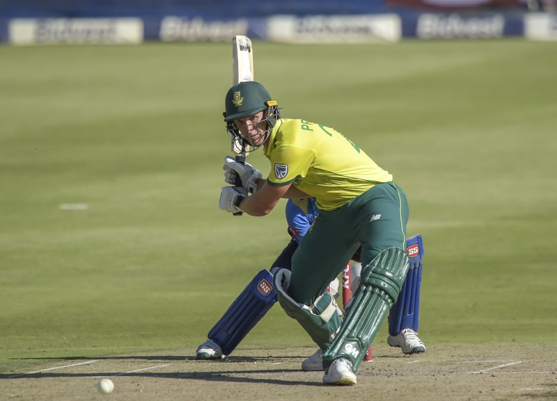 South Africa's Dwaine Pretorius playing a shot during the T20I match between South Africa and Sri Lanka at Wanderers Stadium in Johannesburg, South Africa, Sunday, March 24, 2019. (AP Photo/Christiaan Kotze)