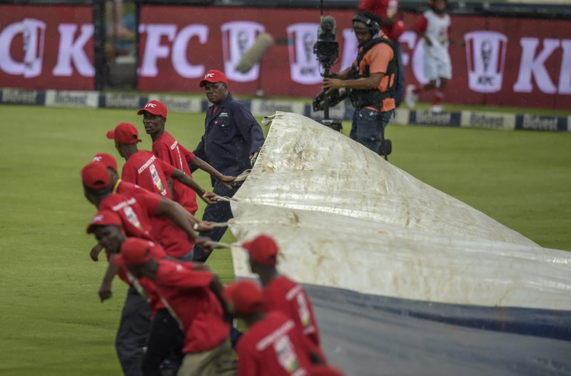 Rain stopped play playing a shot during the T20I match between South Africa and Sri Lanka at Wanderers Stadium in Johannesburg, South Africa, Sunday, March, 24, 2019. (AP Photo/Christiaan Kotze)