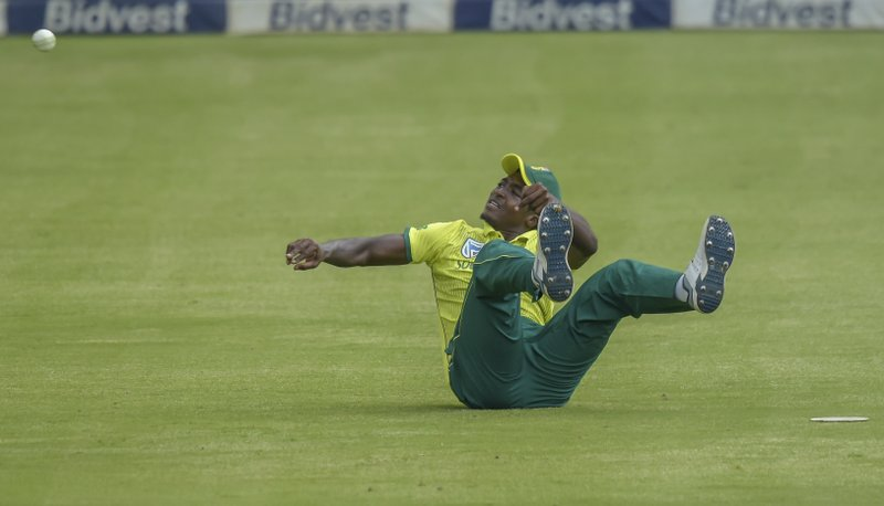 South Africa's Lutho Sipamla fielding a ball during the T20I match between South Africa and Sri Lanka at Wanderers Stadium in Johannesburg, South Africa, Sunday, March, 24, 2019. (AP Photo/Christiaan Kotze)