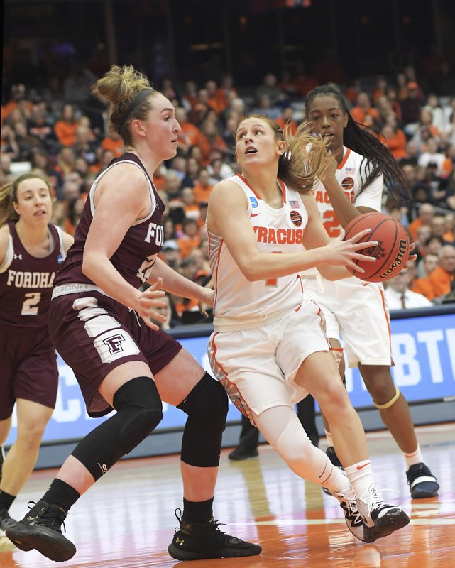 Syracuse's Tiana Mangakahia, pushes past Fordham's Kaitlyn Downey enroute to the basket during of a first-round game in the NCAA women's college basketball tournament in Syracuse, N. (AP Photo/Heather Ainsworth)