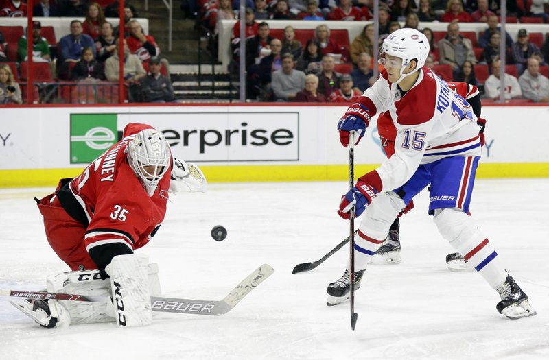 Carolina Hurricanes goalie Curtis McElhinney (35) blocks Montreal Canadiens' Jesperi Kotkaniemi (15), of Finland, during the second period of an NHL hockey game in Raleigh, N. (AP Photo/Gerry Broome)