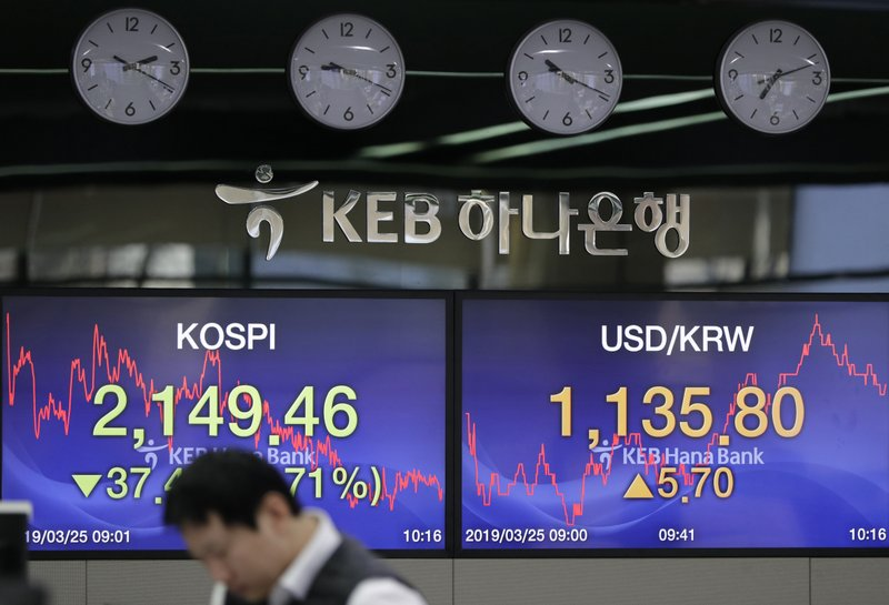 A currency trader works near the screens showing the Korea Composite Stock Price Index (KOSPI), left, and the foreign exchange rate between U. (AP Photo/Lee Jin-man)