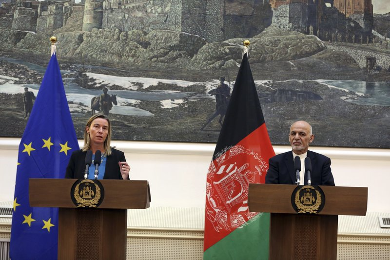 European Union foreign policy chief Federica Mogherini, left, speaks during a press conference with Afghan President Ashraf Ghani, at the presidential palace in Kabul, Afghanistan, Tuesday, March 26, 2019. (AP Photo/Rahmat Gul)