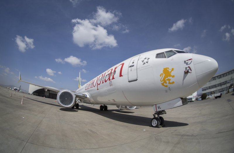 An Ethiopian Airlines Boeing 737 Max 8 sits grounded at Bole International Airport in Addis Ababa, Ethiopia Saturday, March 23, 2019. (AP Photo/Mulugeta Ayene)