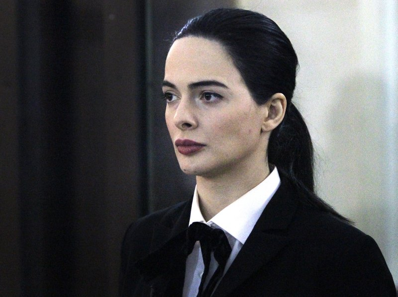 CAPTION CORRECTS THE ID - Mariam Gublashvili, the lawyer of Britain's Jack Shepherd, attends a court session, in Tbilisi, Georgia, Tuesday, March 26, 2019. (AP Photo/Shakh Aivazov)