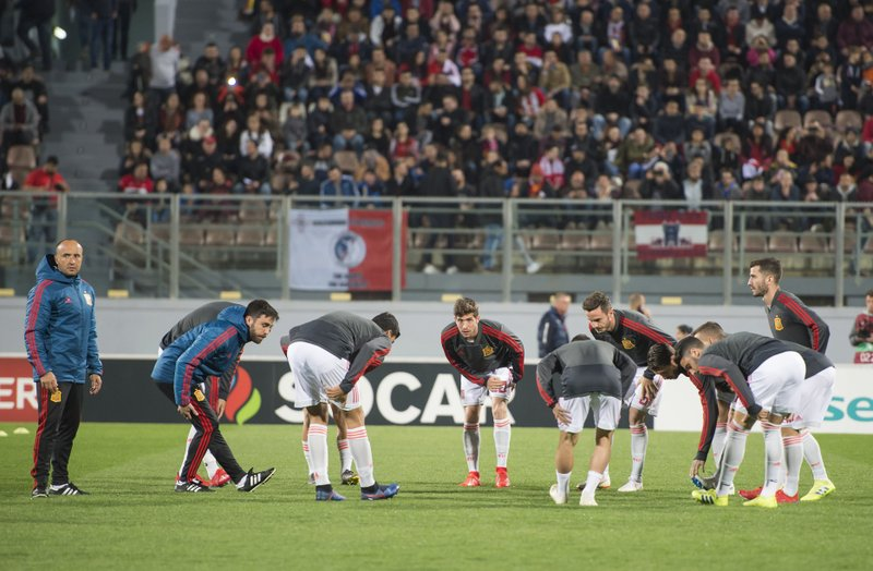 Spain national team warm up before the Euro 2020 group F qualifying soccer match between Malta and Spain at the national stadium Ta Qali Malta, Tuesday, March 26, 2019. (AP Photo/Rene Rossignaud)