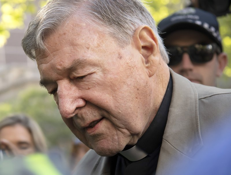 FILE - In this Feb. 27, 2019, file photo, Cardinal George Pell arrives at the County Court in Melbourne, Australia. (AP Photo/Andy Brownbill, File)