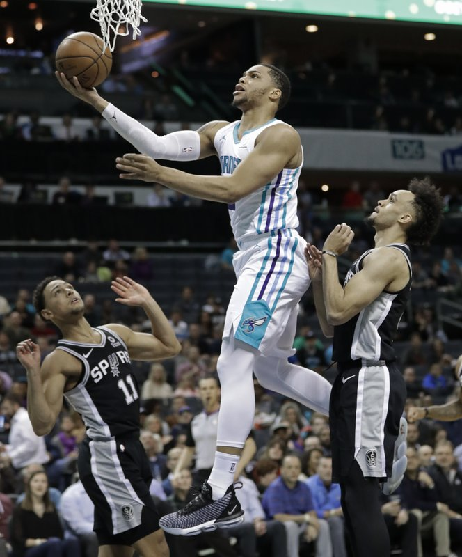 Charlotte Hornets' Miles Bridges, center, drives between San Antonio Spurs' Bryn Forbes, left, and Derrick White, right, during the first half of an NBA basketball game in Charlotte, N. (AP Photo/Chuck Burton)