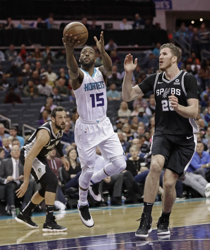Charlotte Hornets' Kemba Walker (15) drives past San Antonio Spurs' Jakob Poeltl (25) during the first half of an NBA basketball game in Charlotte, N. (AP Photo/Chuck Burton)