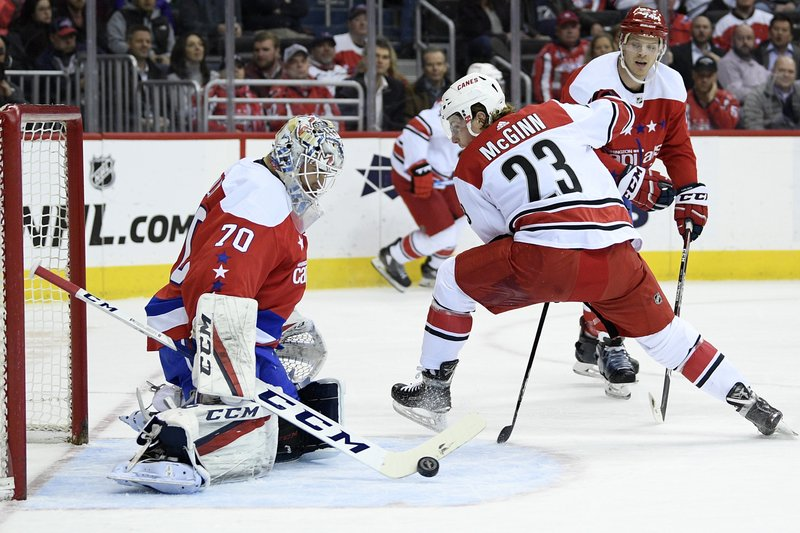 Washington Capitals goaltender Braden Holtby (70) stops the puck against Carolina Hurricanes left wing Brock McGinn (23) during the first period of an NHL hockey game, Tuesday, March 26, 2019, in Washington. (AP Photo/Nick Wass)