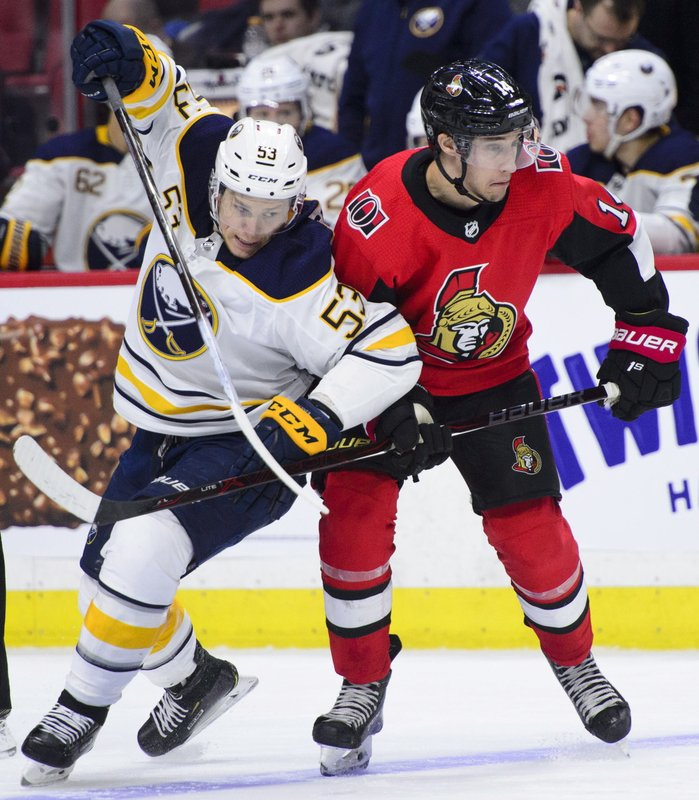 Buffalo Sabres left wing Jeff Skinner (53) pushes against Ottawa Senators right wing Max Veronneau (14) during second period NHL hockey action in Ottawa, Ontario on Tuesday, March 26, 2019. (Sean Kilpatrick/The Canadian Press via AP)