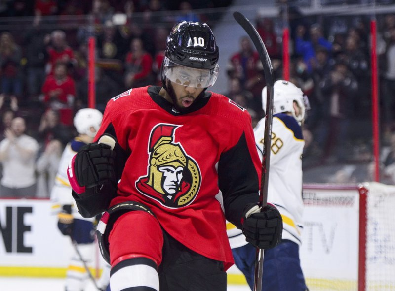 Ottawa Senators left wing Anthony Duclair (10) celebrates a first period goal against the Buffalo Sabres during first period NHL hockey action in Ottawa, Ontario, on Tuesday, March 26, 2019. (Sean Kilpatrick/The Canadian Press via AP)