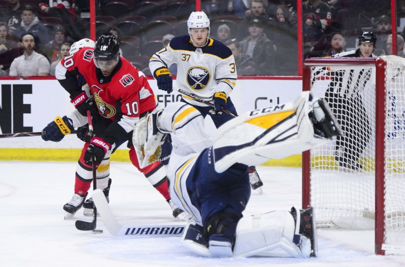 Ottawa Senators left wing Anthony Duclair (10) tries to get the puck past Buffalo Sabres goaltender Carter Hutton (40) during first period NHL hockey action in Ottawa, Ontario, on Tuesday, March 26, 2019. (Sean Kilpatrick/The Canadian Press via AP)
