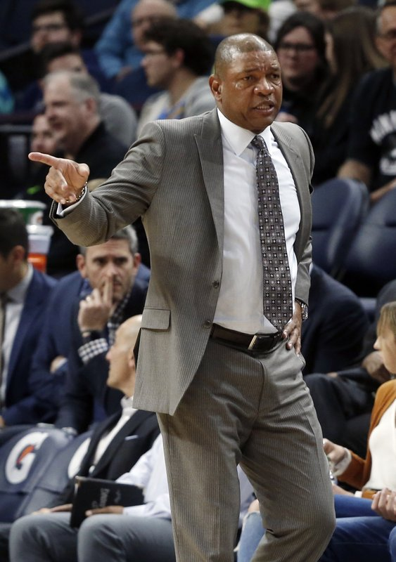 Los Angeles Clippers head coach Doc Rivers questions a call in the second half of an NBA basketball game against the Minnesota Timberwolves Tuesday, March 26, 2019, in Minneapolis. (AP Photo/Jim Mone)