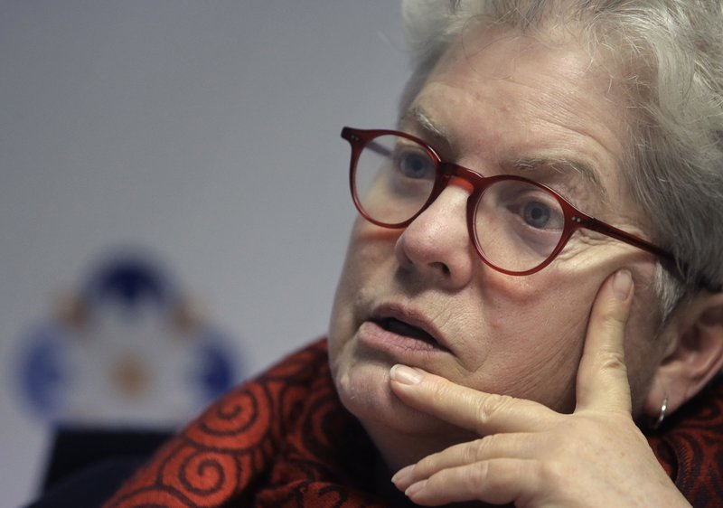 Council on American-Islamic Relations Massachusetts Civil Rights DirectorBarbaraDougan takes questions from a reporter from The Associated Press, Wednesday, March 27, 2019, in Boston. (AP Photo/Steven Senne)