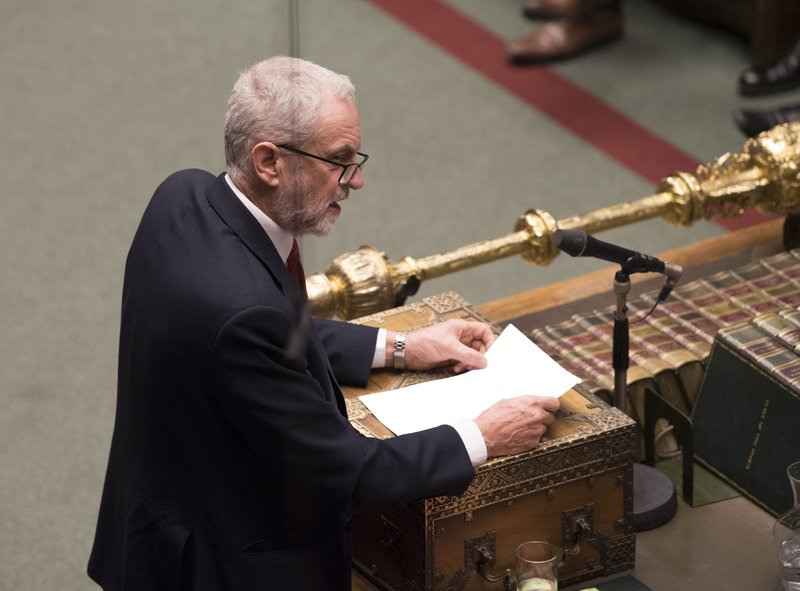 Britain's main opposition Labour Party leader Jeremy Corbyn during a debate inside the House of Commons parliament in London Wednesday March 27, 2019. (Mark Duffy/House of Commons via AP)