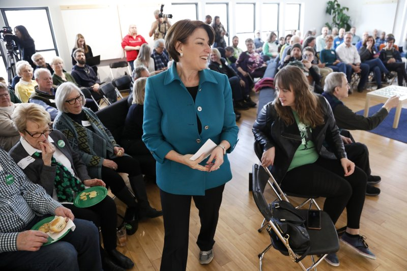 FILE - In this March 17, 2019 file photo, Democratic presidential candidate Sen. Amy Klobuchar, D-Minn. (AP Photo/Charlie Neibergall, File)