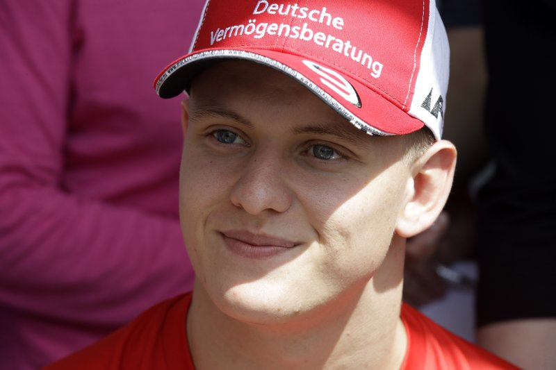 Formula 2 driver Mick Schumacher answers to reporters during a press conference at the Formula One Bahrain International Circuit in Sakhir, Bahrain, Thursday, March 28, 2019. (AP Photo/Luca Bruno)