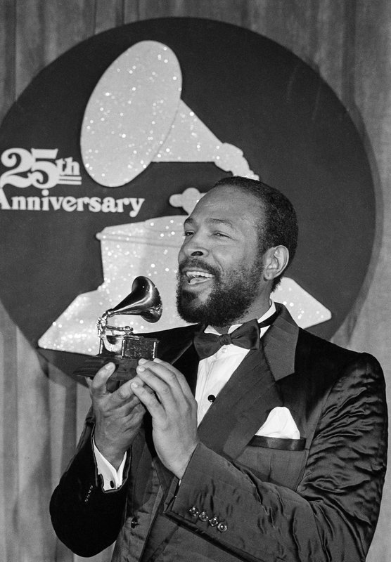 FILE - In this Feb. 24, 1983, file photo, Marvin Gaye appears with his Grammy Award after he was named top Rhythm & Blues Male Vocalist at the 25th annual Grammy Awards presentation in Los Angeles. (AP Photo, File)