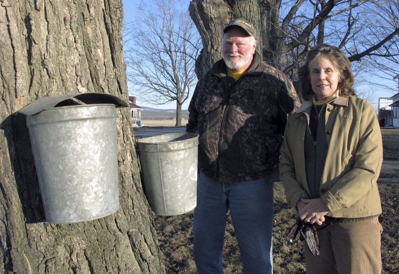 In this Wednesday, March 27, 2019 photo, maple syrup maker Fred Hopkins, left, and his wife Maureen Lake stand next to sap-collecting buckets in St. (AP Photo/Lisa Rathke)